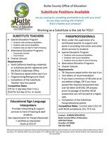 Butte County Office of Education Substitute Positions Available