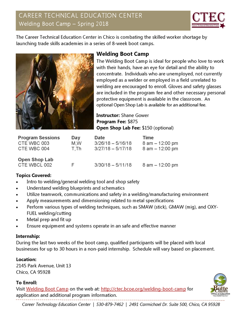 Welding Boot Camp Spring 2018