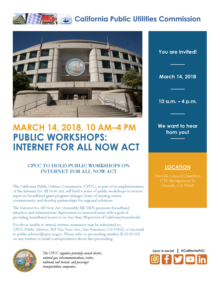 Broadband for All Workshop In Oroville March 14, 2018