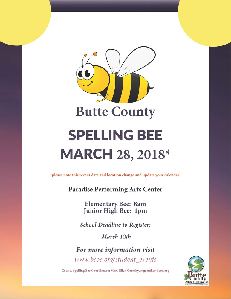 Butte County Spelling Bee - March 28th