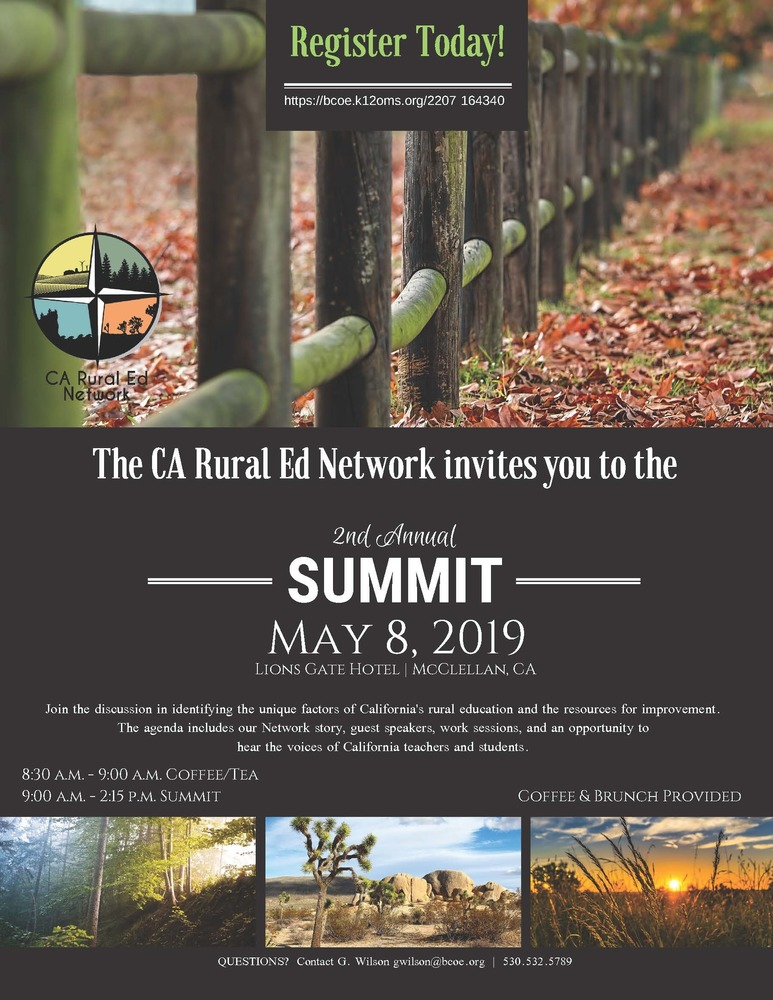 California Rural Education Network Summit on May 8, 2019