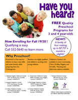 NOW ENROLLING FREE PRESCHOOL!!
