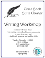 Sign up today to attend the November 19th Writing Workshop