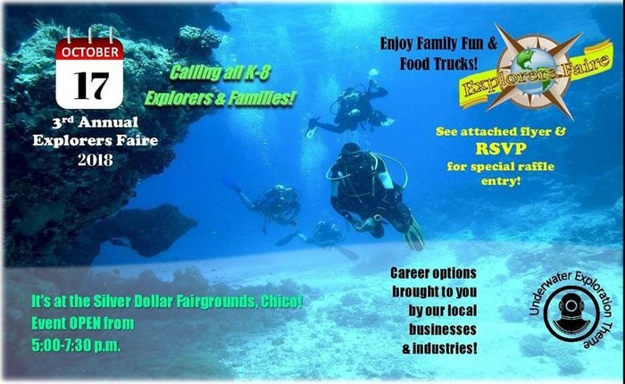 Explorers Faire flyer with a scuba diver