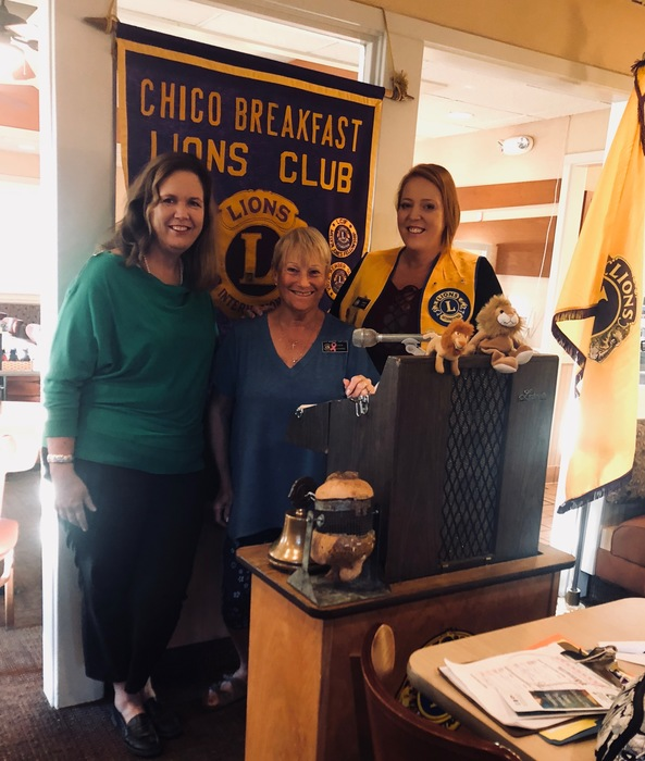 Sharon Brown (left) and Mandy Leahy (right) at the Chico Lions Club meeting.