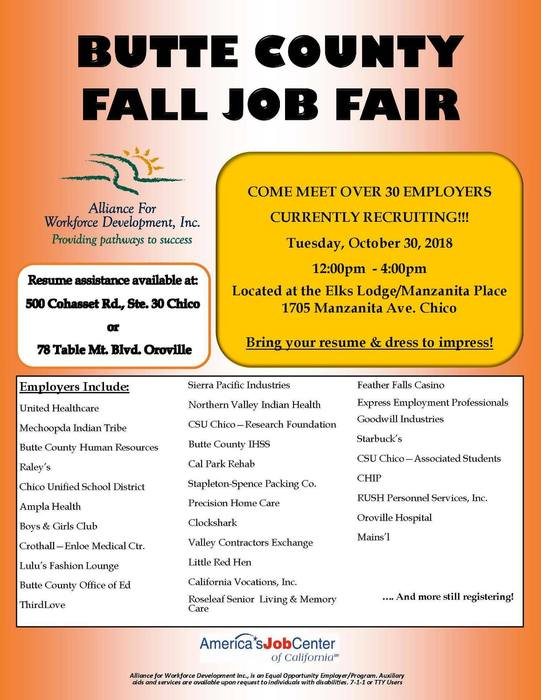 Flyer for Butte County Fall Job Fair 2018