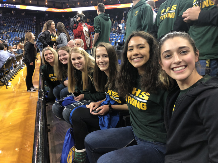 PHS girls at Warriors game