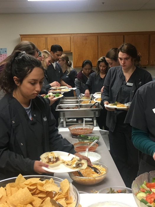 Students enjoy a luncheon