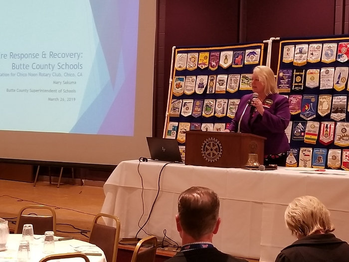 Butte County Superintendent of Schools, Mary Sakuma, speaks with Chico Noon Rotary about the Camp Fire impact on Butte County schools.