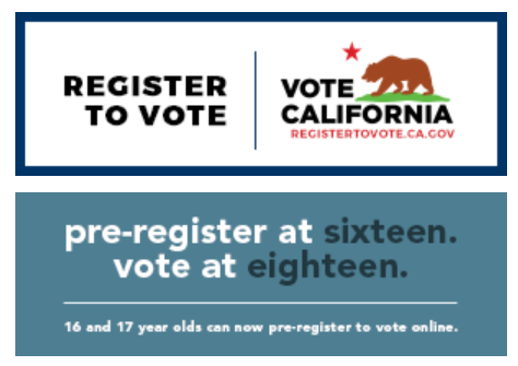 REgister to Vote in California pre-register at sixteen vote at eighteen