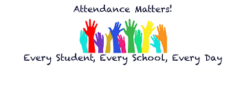 "hands raised, text that says, ""Attendance matters. Every student, every school, every day."