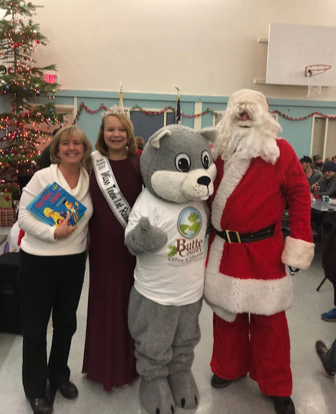 BCOE Mascot Chewy with Pioneer Union Superintendent Patsy Oxford and Special Guest Santa Claus