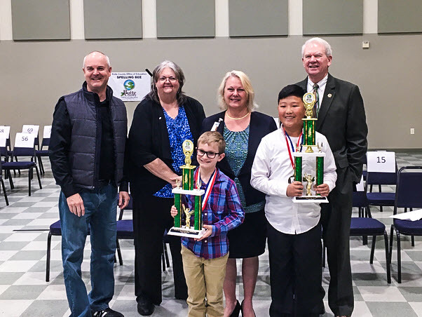 Picture of Butte County Elementary Spelling Bee Champions 2019 1st place winner from Poplar Avenue and 2nd place from Shasta Elementary.
