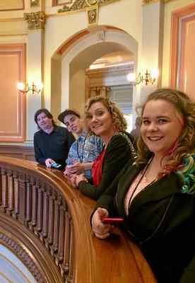 In April, members of the Butte County Youth Advisory Council visited Sacramento for the Taking Action Conference. From back to front: Josh Indar (mentor), Elijah Osborne (youth council), Emily Bateman (mentor) and Hailey Sherman (youth council)
