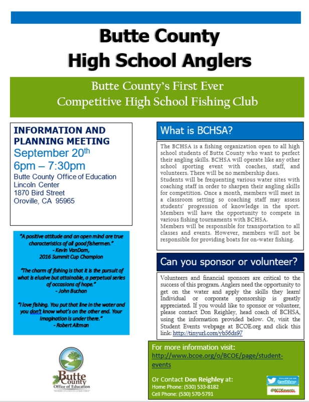 Butte County High School Anglers Information Meeting Flyer