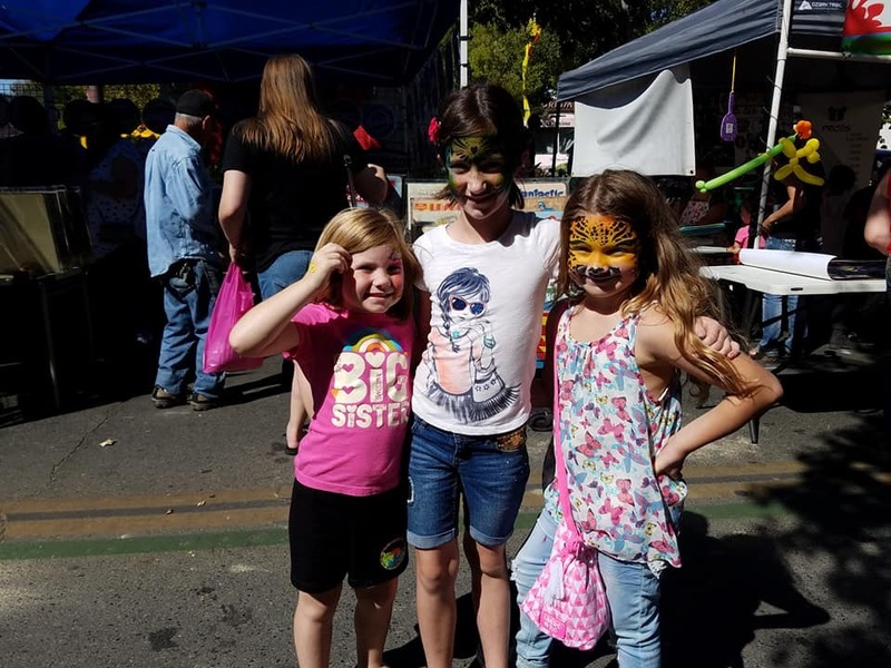 Students excited about the fun face painting they got