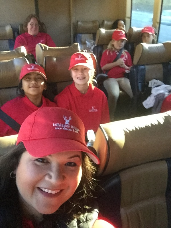 Coordinators and students on the bus on their way to Pebble Beach