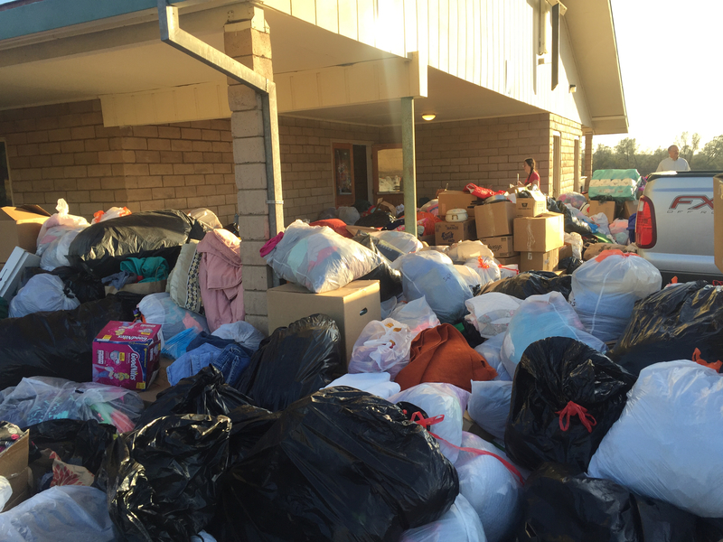 Several donations being sorted for those affected by fire