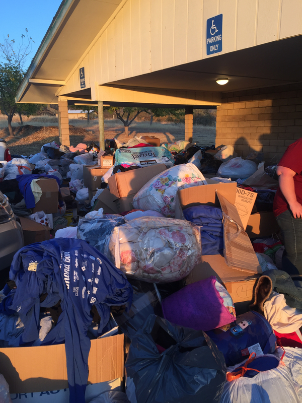 Image of donations for community affected by the fire