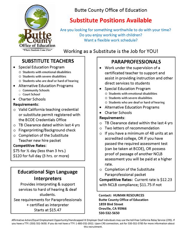 Substitute Teaching Jobs Flyer for Butte County Office of Education