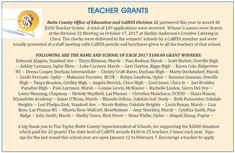 Butte County Teachers Receive $100 Grants from CalRTA and BCOE