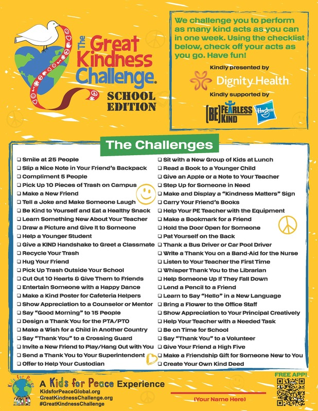 Great Kindness Challenge Checklist