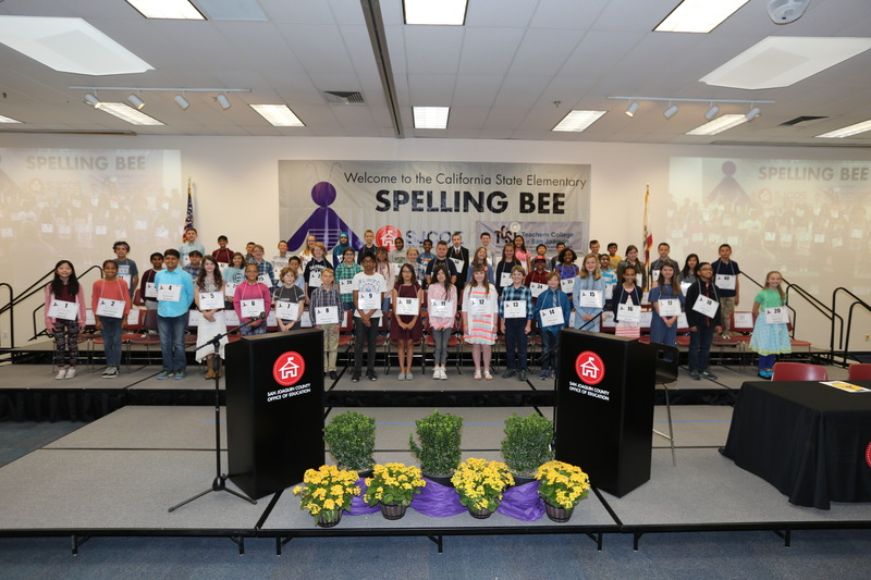 Picture has the group of 45 students that competed at the California State Junior High Spelling Bee