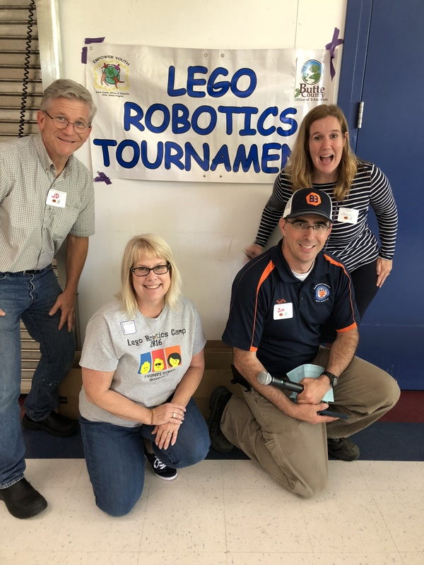 Photo of Robotics Tournament Partners: (left to right) John Dahlgren, Butte College CAD Dept.; Julie Jarrett, Director of Expanded Learning Program; Jon Andrew, Butte Built Bots Founder; Mary Ellen Garrahy, Student Events Manager