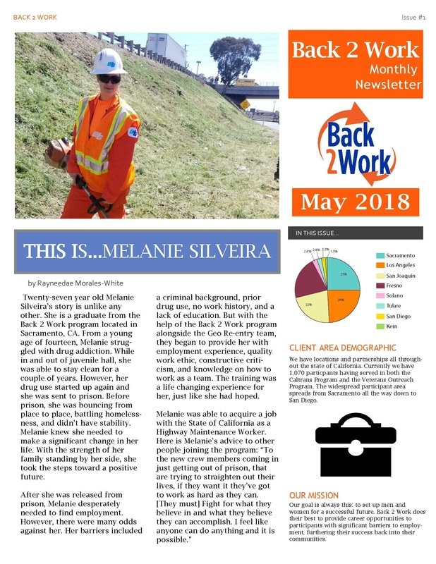 Back 2 Work May 2018 Newsletter