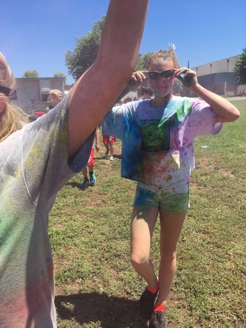 Kastle Mulholland participating in the Color Run at Nelson Ave. Middle School
