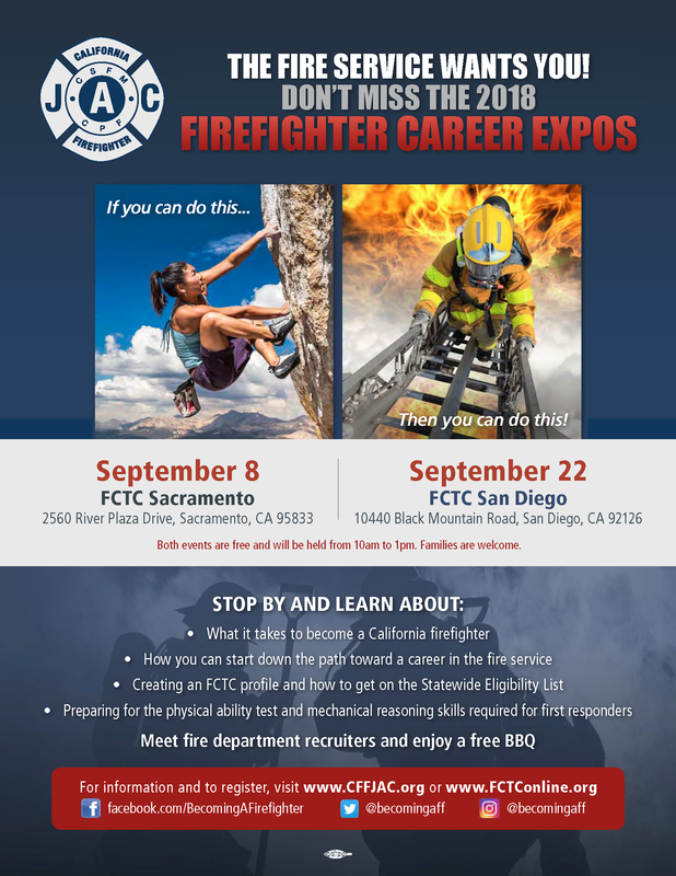 Firefighter Career Expos Sept 8 (Sacramento) / Sept 22 (San Diego)